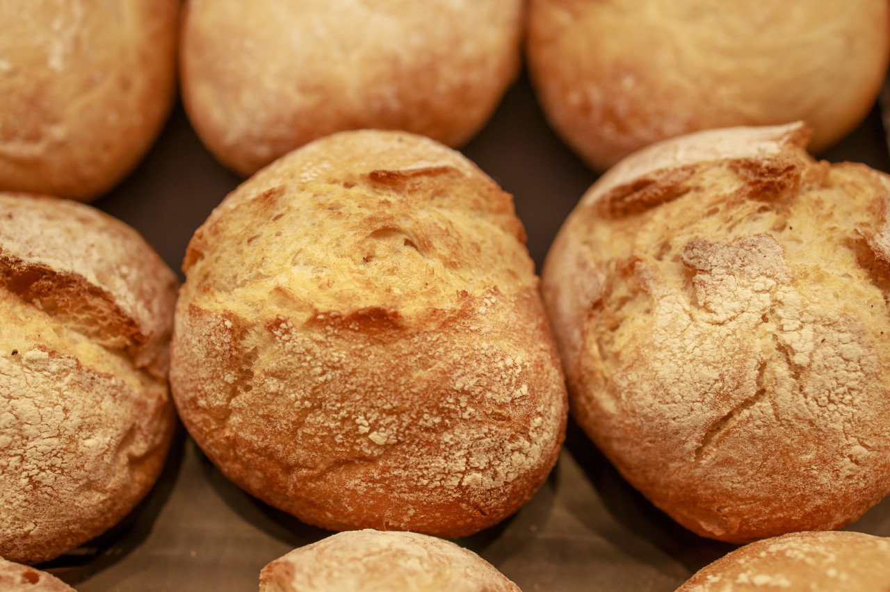 Top view of fresh homemade bread buns
