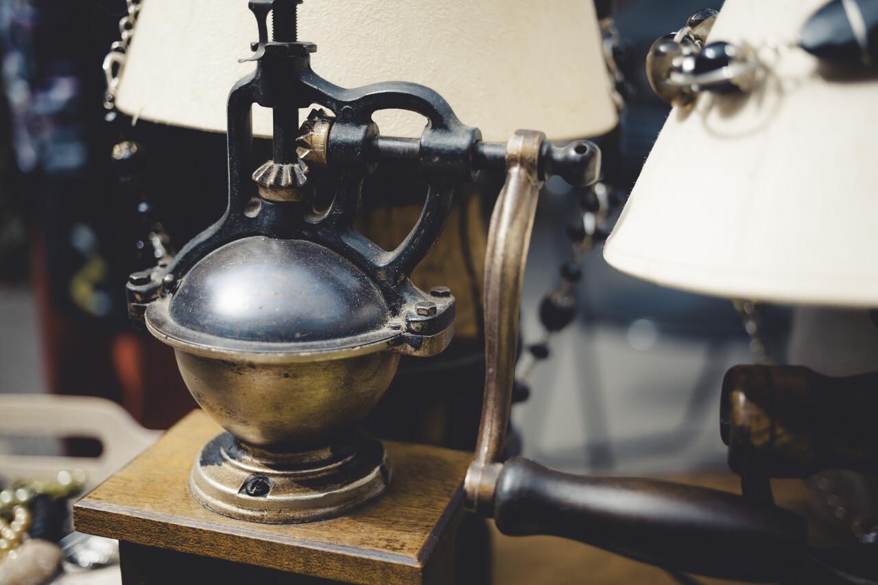 old vintage coffee grinder on a flea market