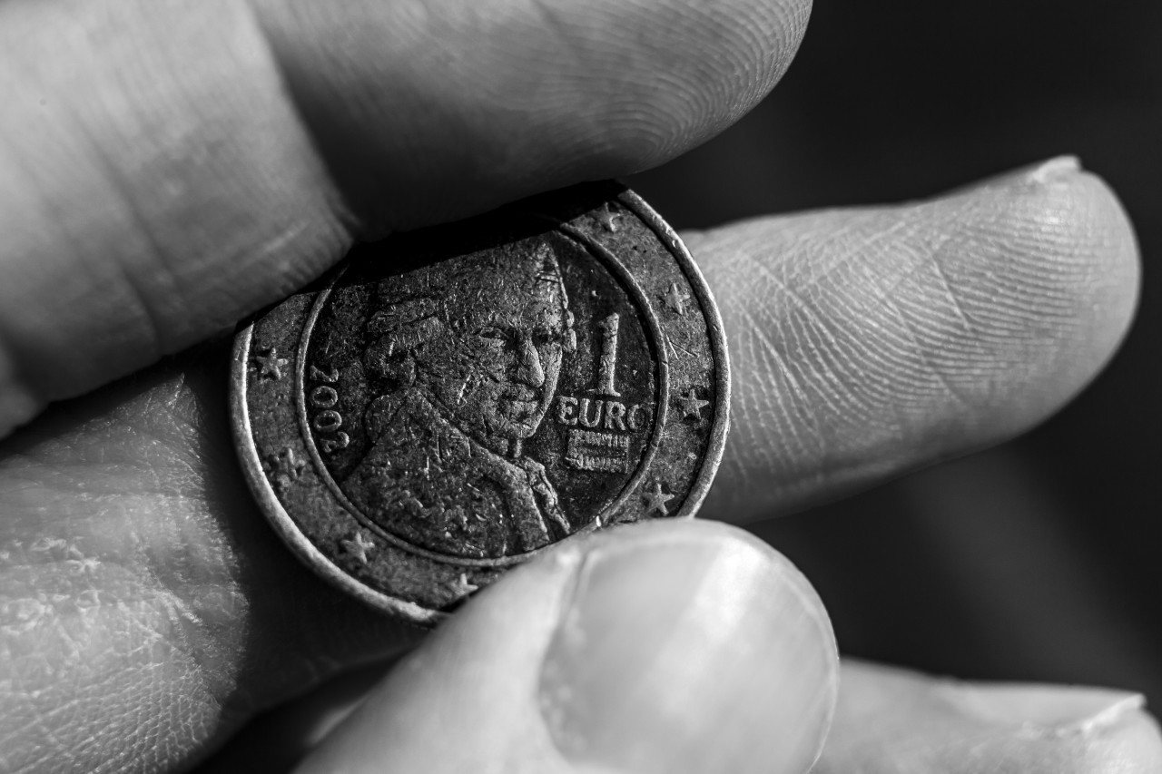 austrian 1 euro coin black and white