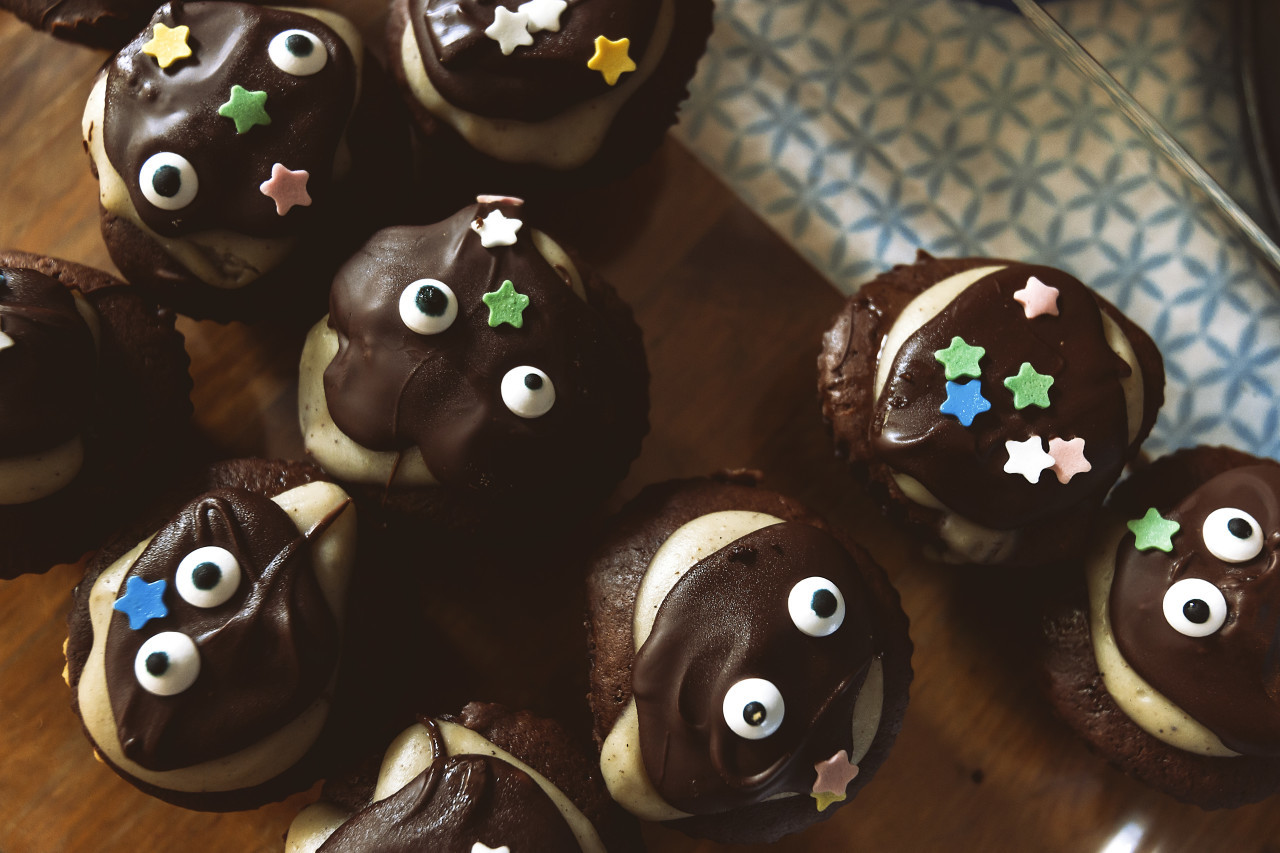 cute chocolate muffins with face