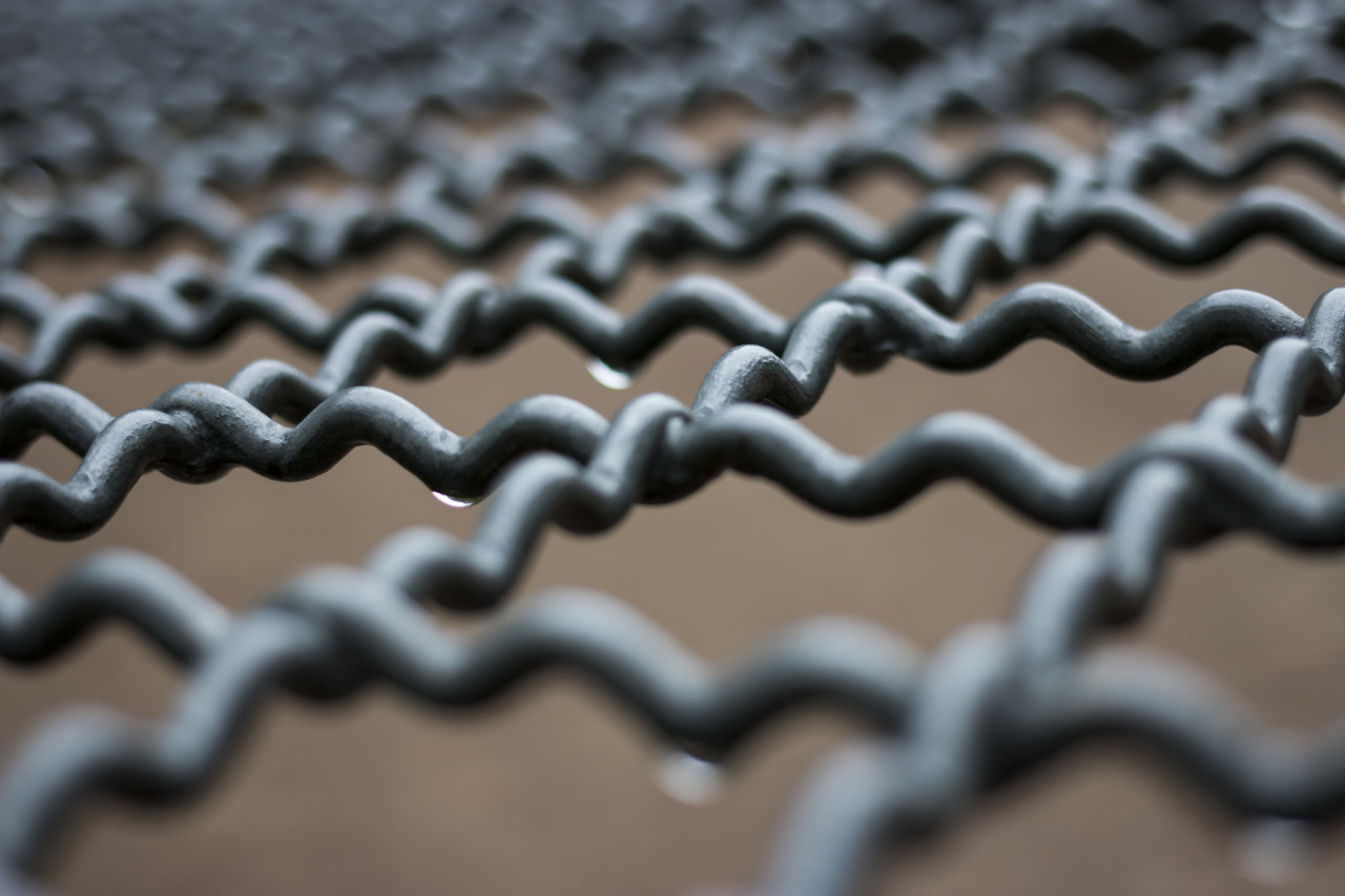 wet abstract metal grid