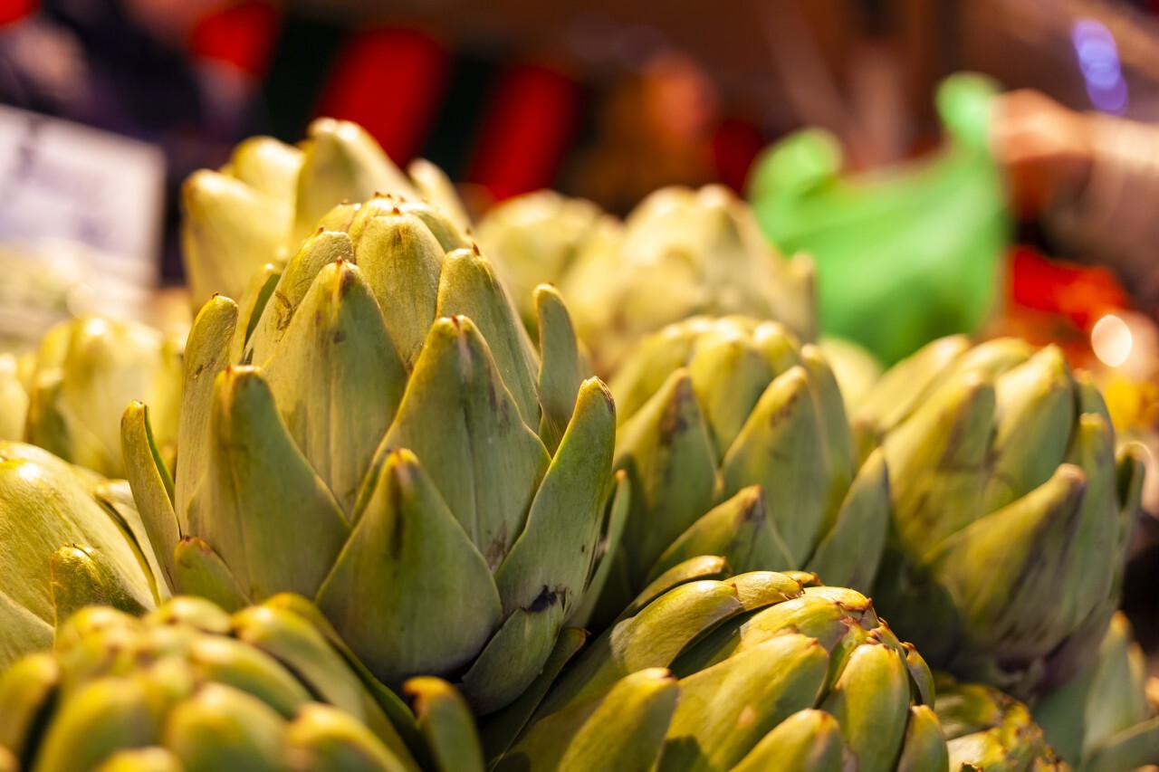 Fresh artichokes on a farmers market