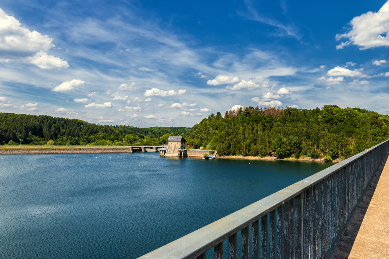 wuppertalsperre bridge over lake