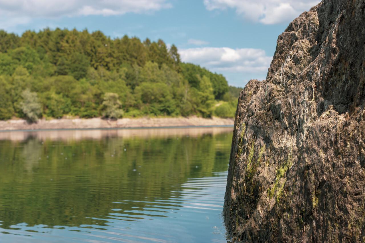 rock in lake - landscape in germany nrw wuppertalsperre