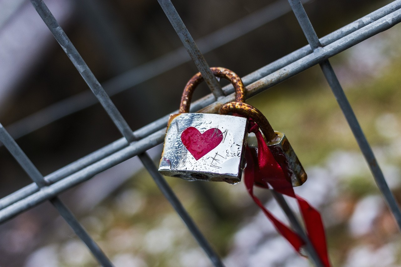 love padlock with a red heart