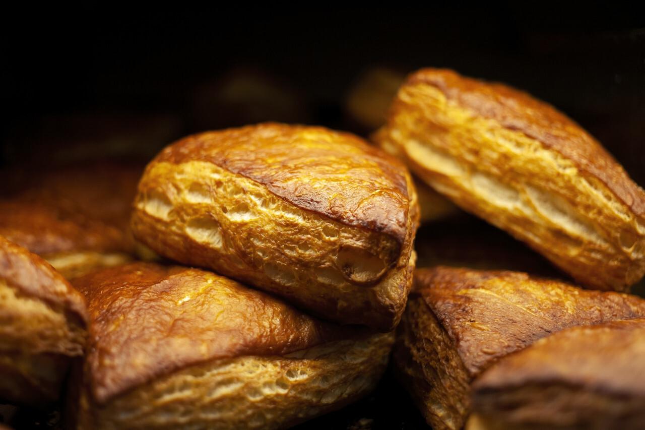 fresh bread buns or rolls