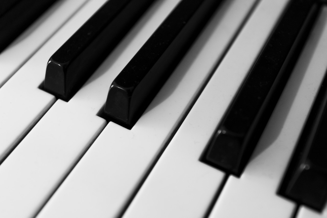 piano keys background - black and white