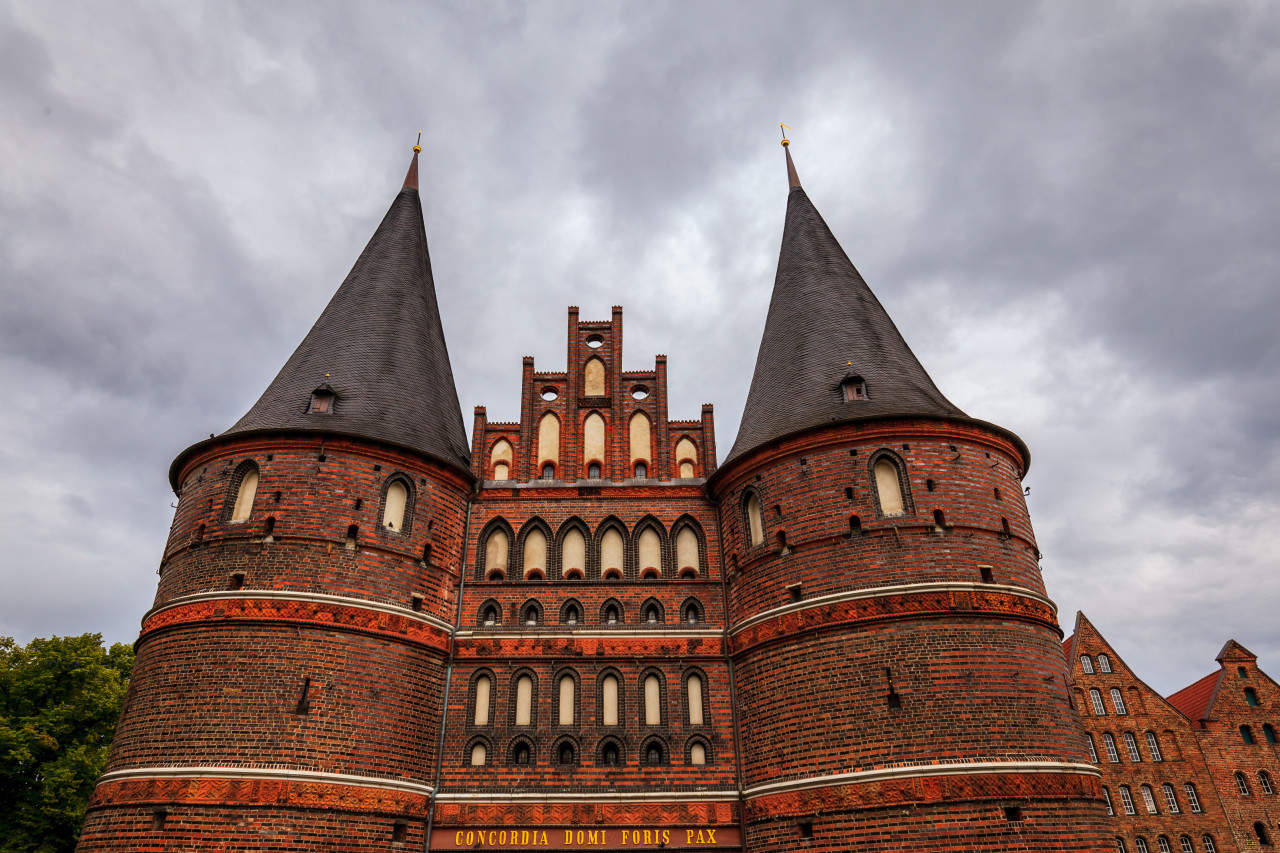 holsten gate in lubeck on a cloudy day