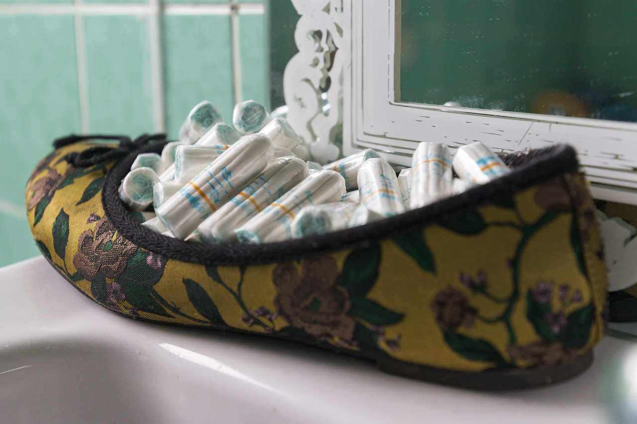 tampons in the shoe in the bathroom