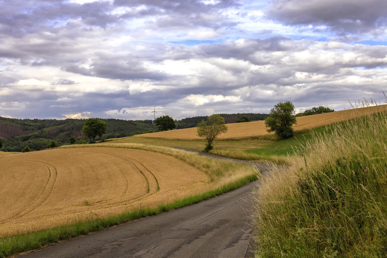 Rural Landscape in Hattingen by North Rhine-Westphalia Germany on a Cloudy Day