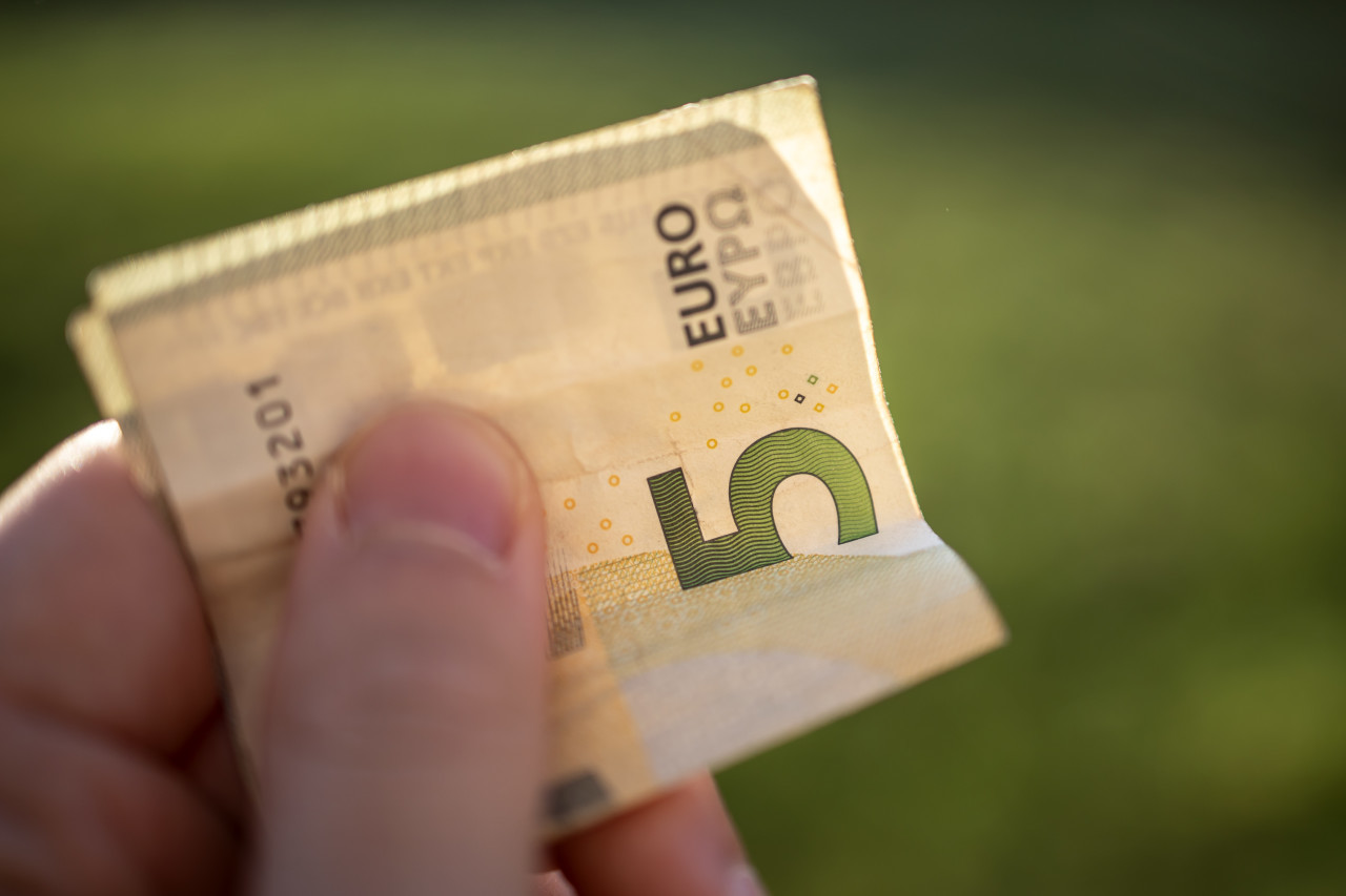 5 euro banknotes in hand - pay with five euro