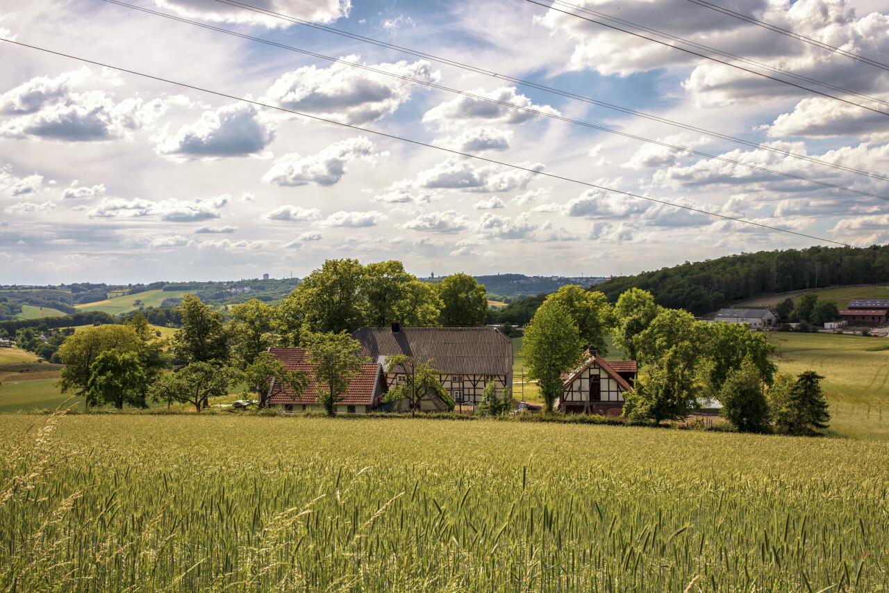 A beautiful organic farm in Germany under a blue sky