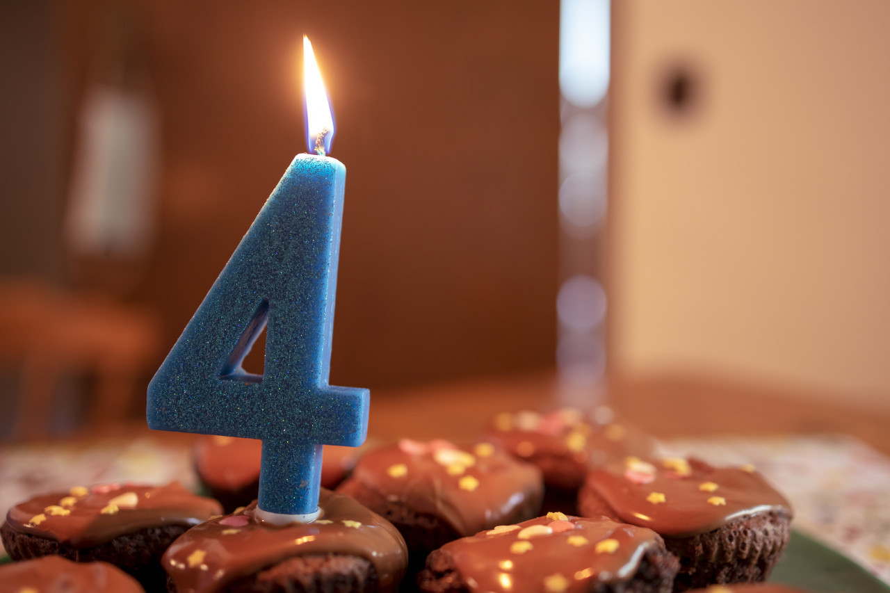4th birthday candle on muffins
