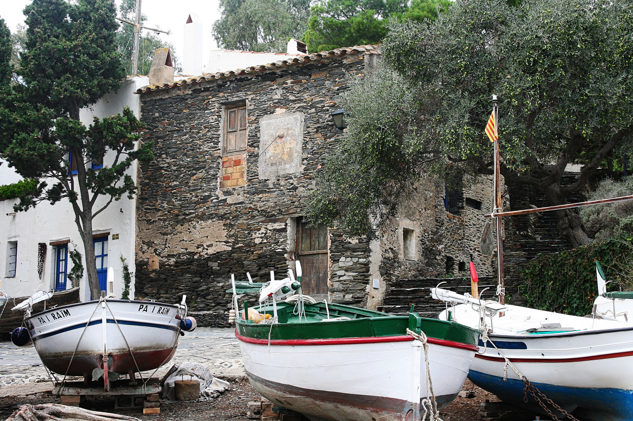 fishing village with boats