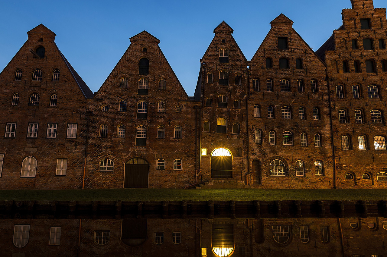Beautiful shot of the Salzspeicher historical landmark in Lubeck, Germany at night