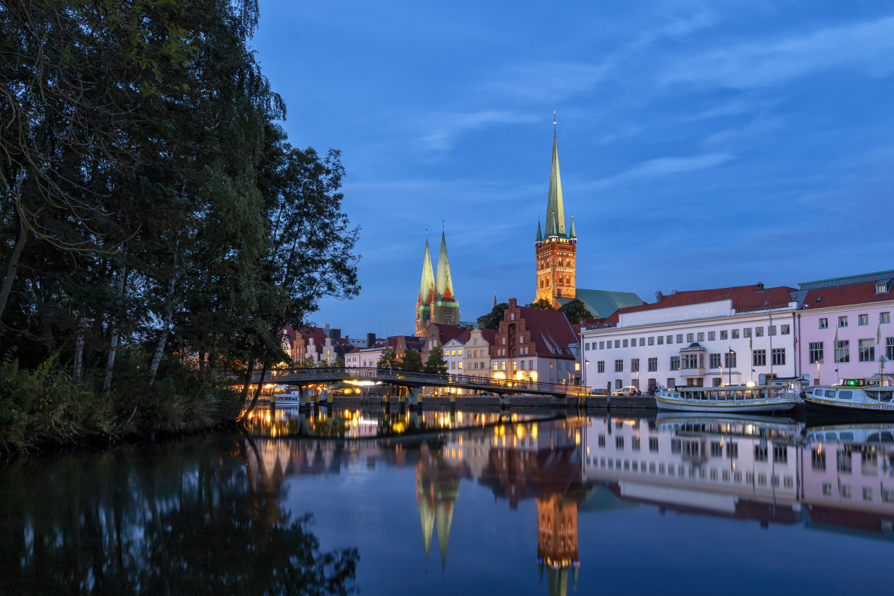 Lübeck on the Trave at Night