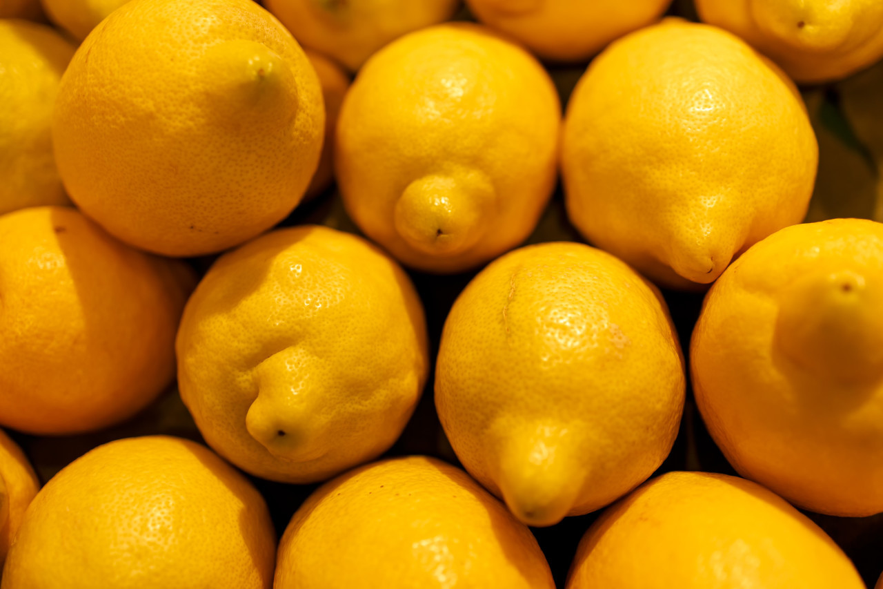 Many lemons in pile background