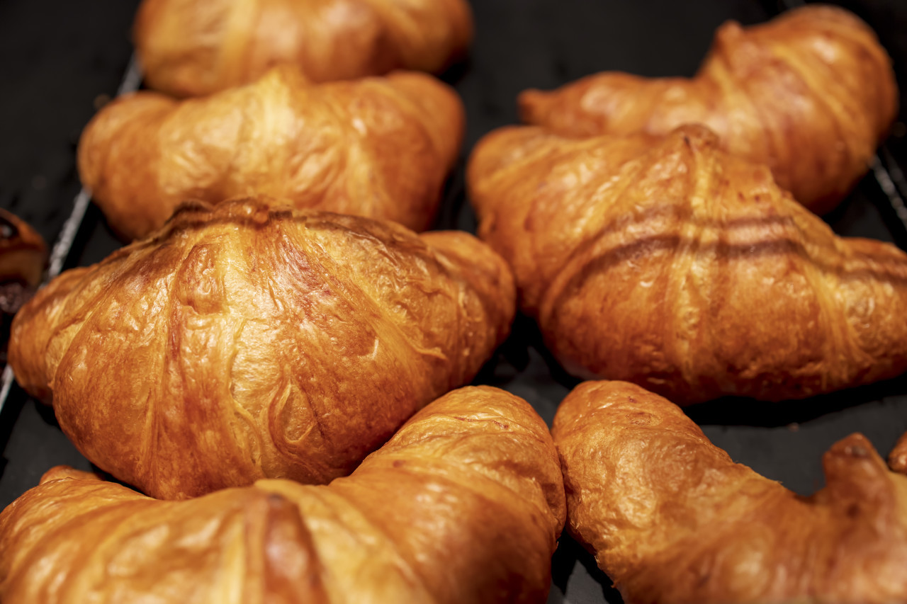 Self-service croissants in a bakery
