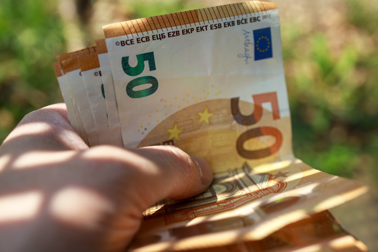 50 euro money banknotes in a hand background