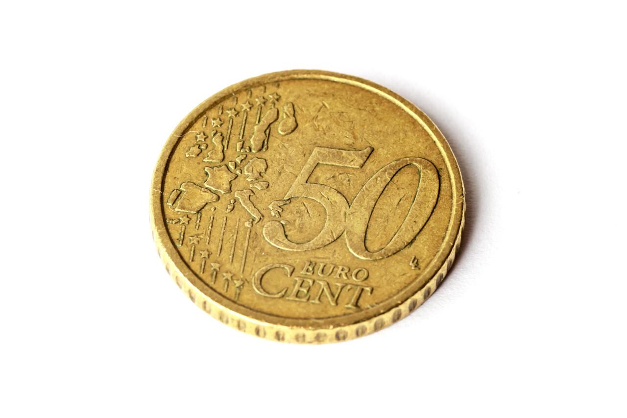 50 euro cent isolated on white background