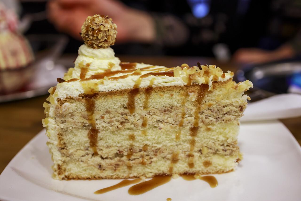 A piece of hazelnut cake