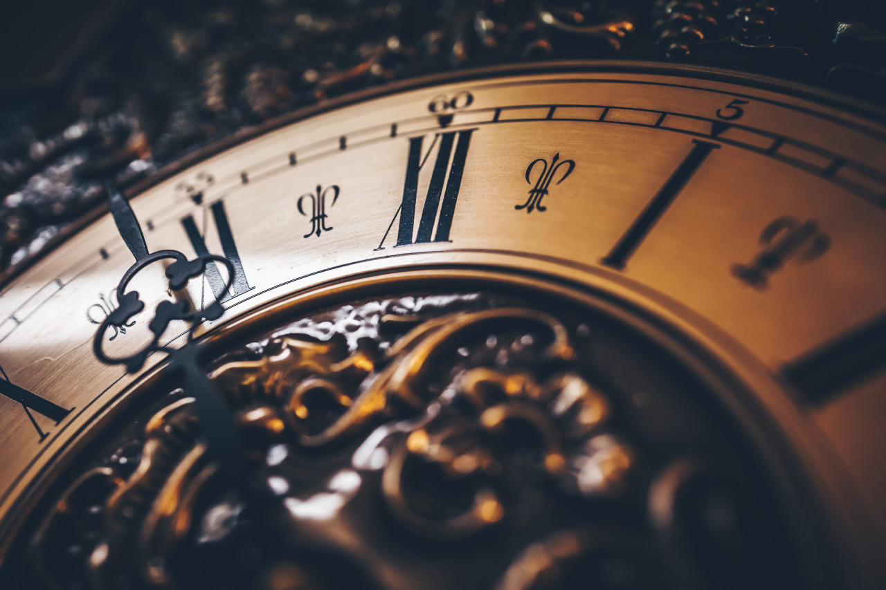 Old antique clock close up
