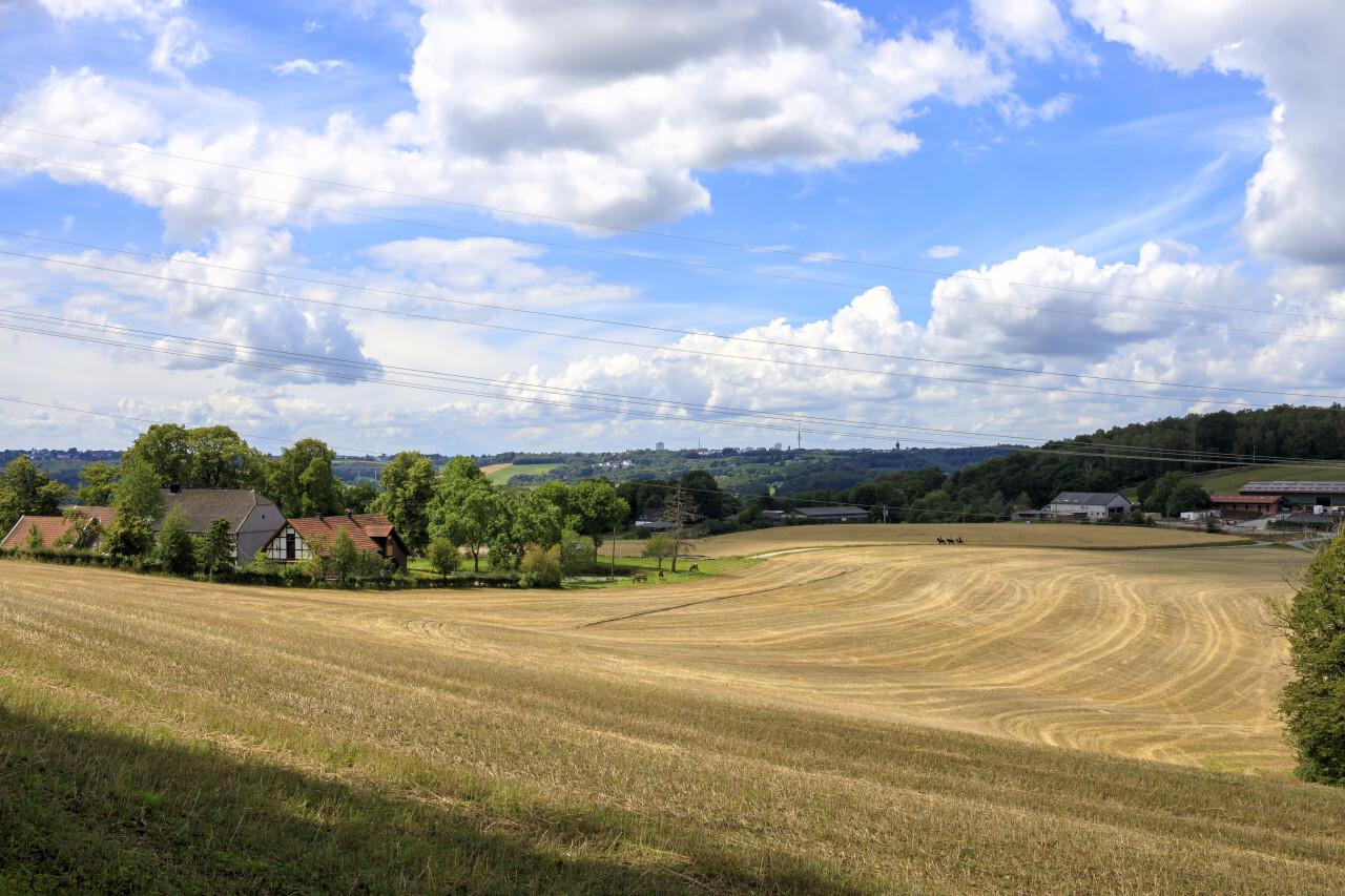 German Rural Landscape under a beautiful cloudy blue Sky
