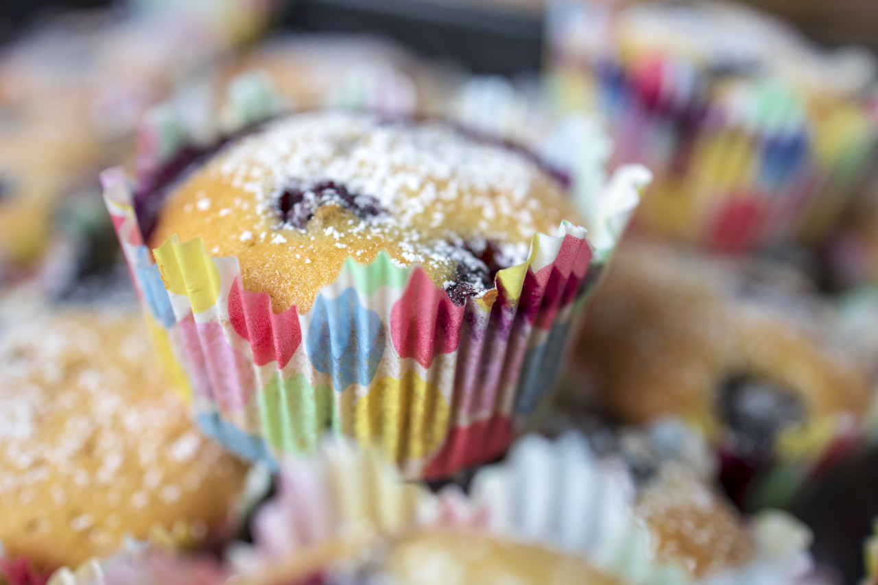 Stacked Blueberry Muffins