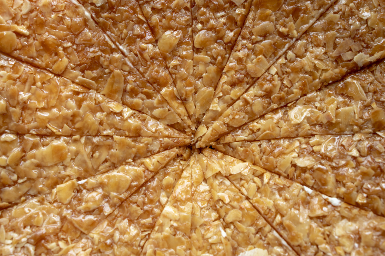 Close up of traditional german Bee sting cake