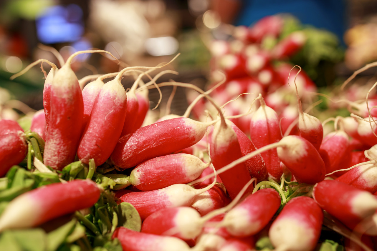Radishes are displayed on a market stall