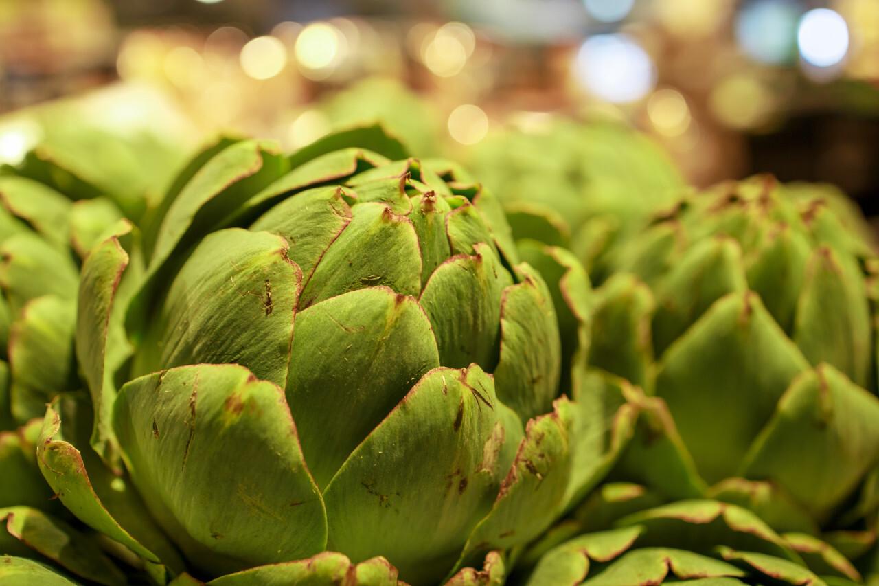 Fresh artichokes on a market