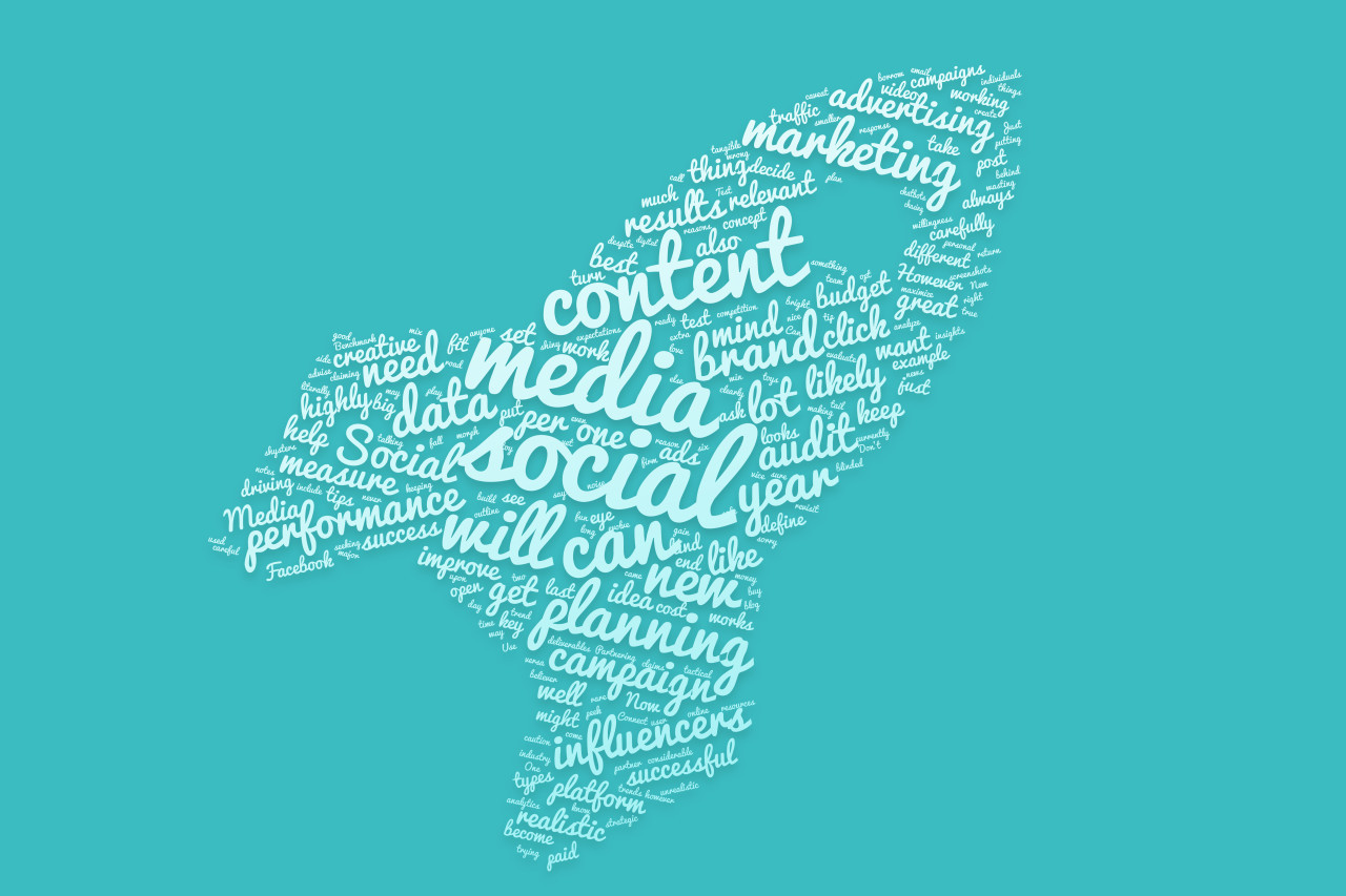 social media tag cloud rocket blue