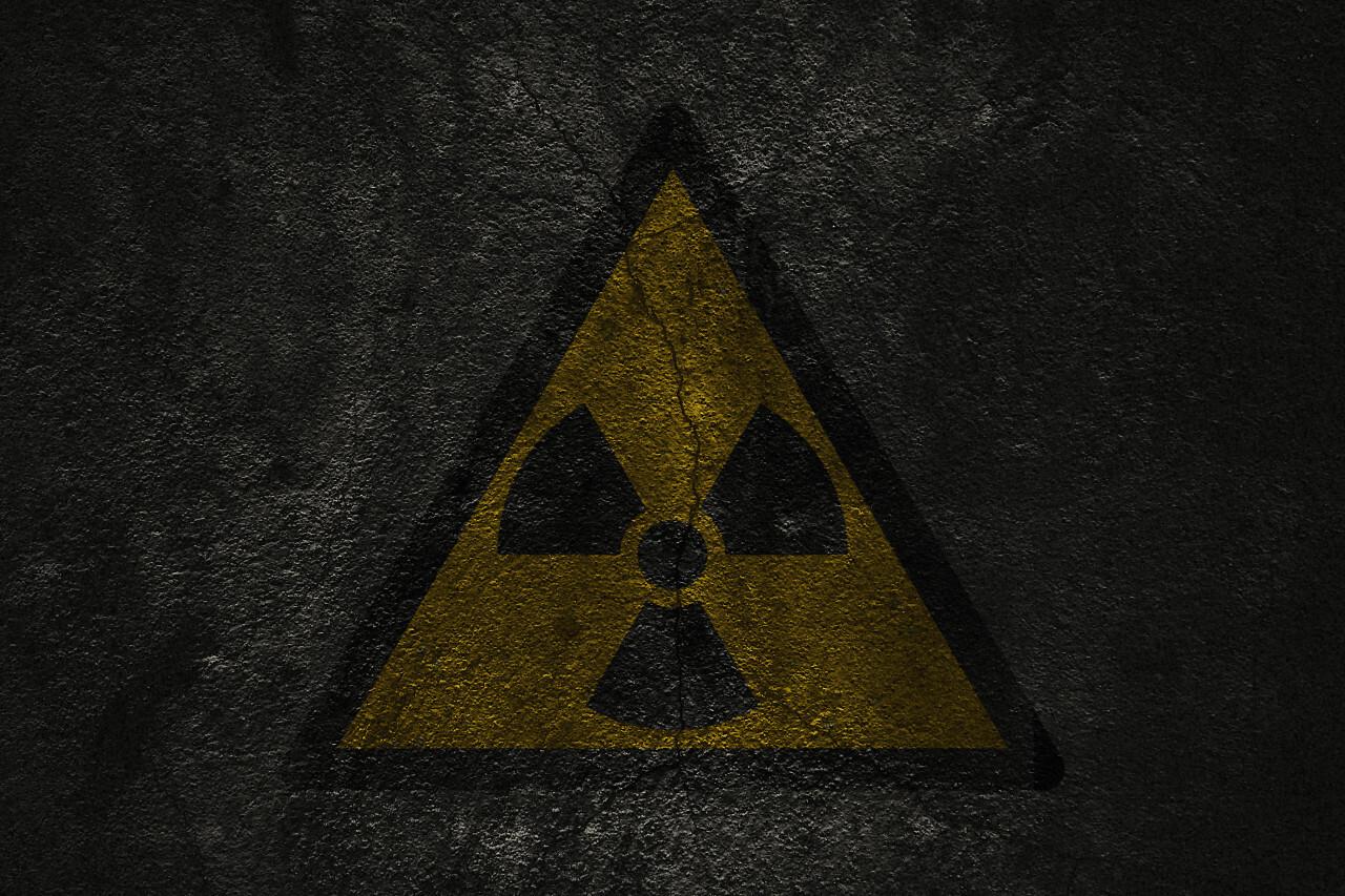 dark grunge radioactive symbol background
