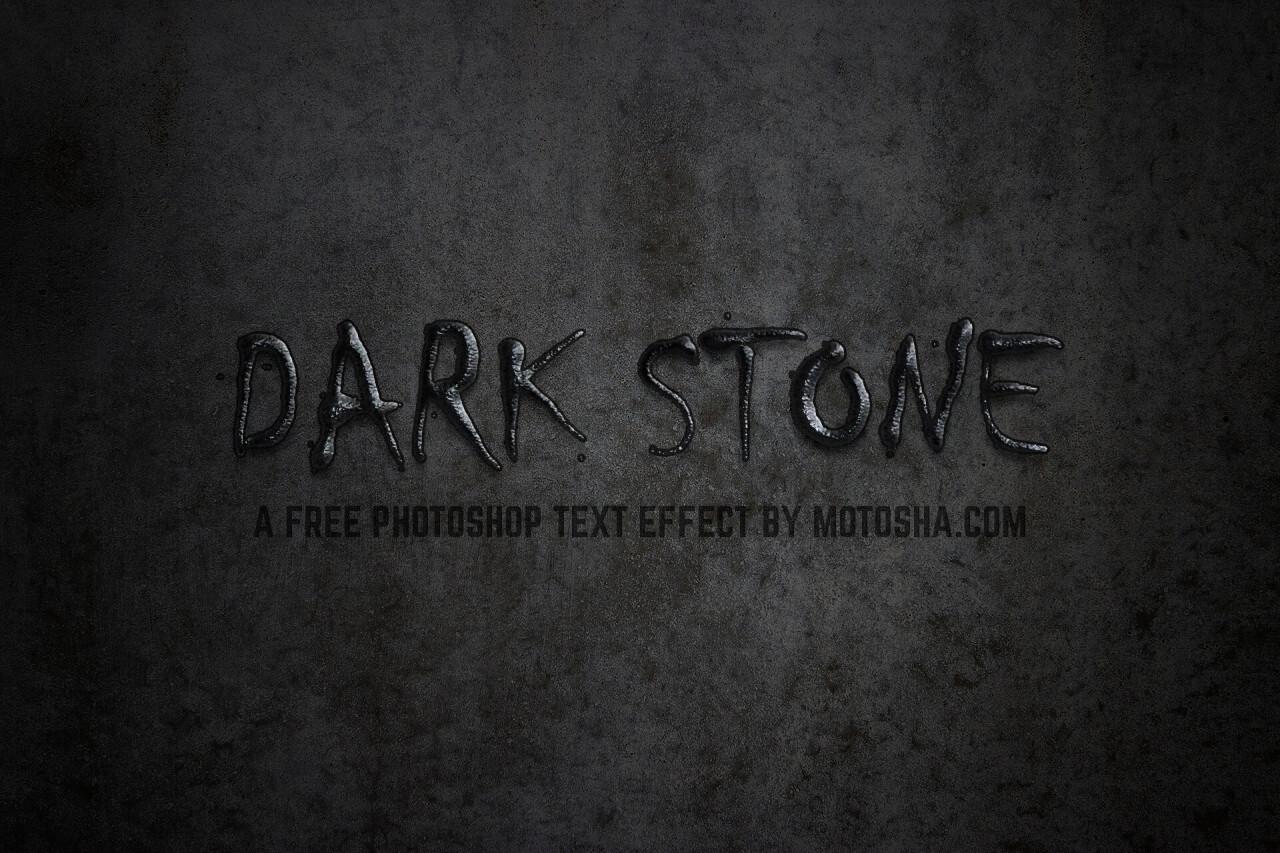 Free Photoshop Text Effect: Dark Stone