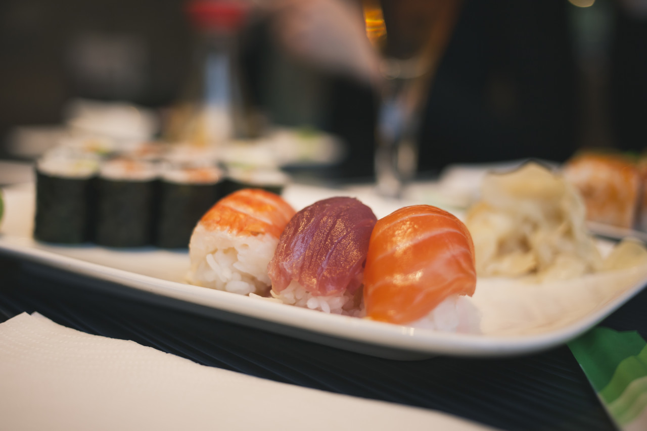 Japanese sushi plate in a restaurant