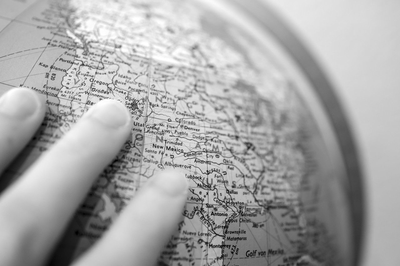 Global Studies A Black and White Closeup of the United States