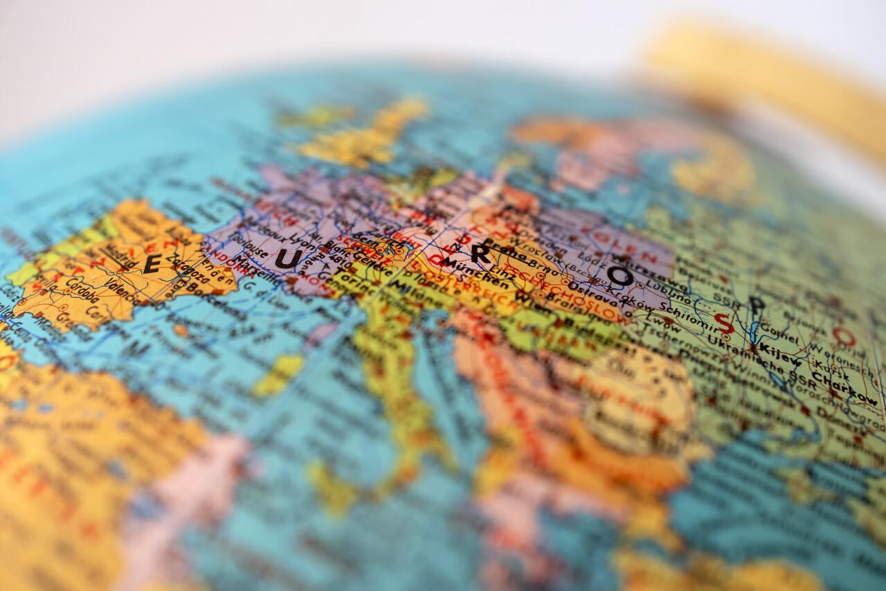 Detailed Globe Earth Europe