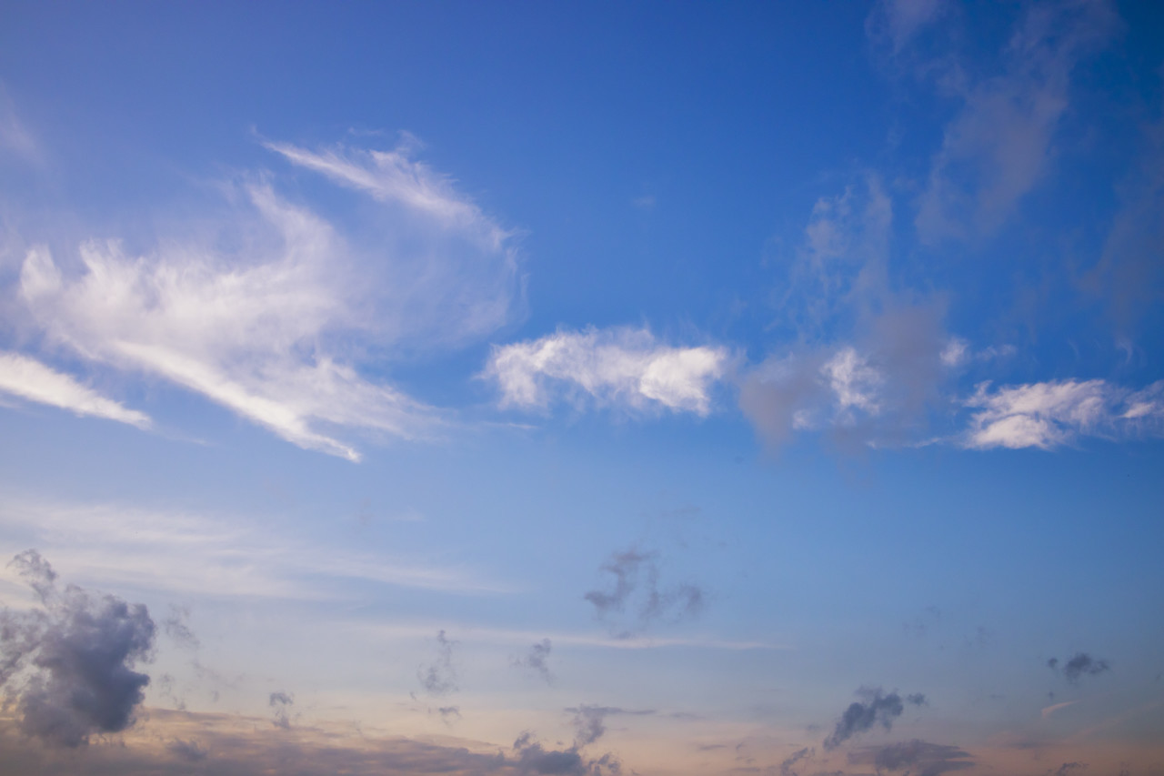 Beautiful blue sky with clouds for sky replacement