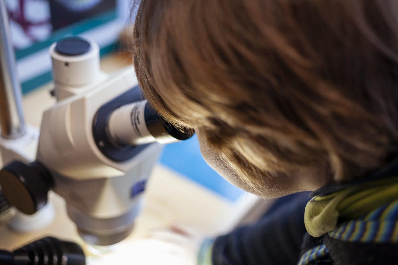 Child on a microscope