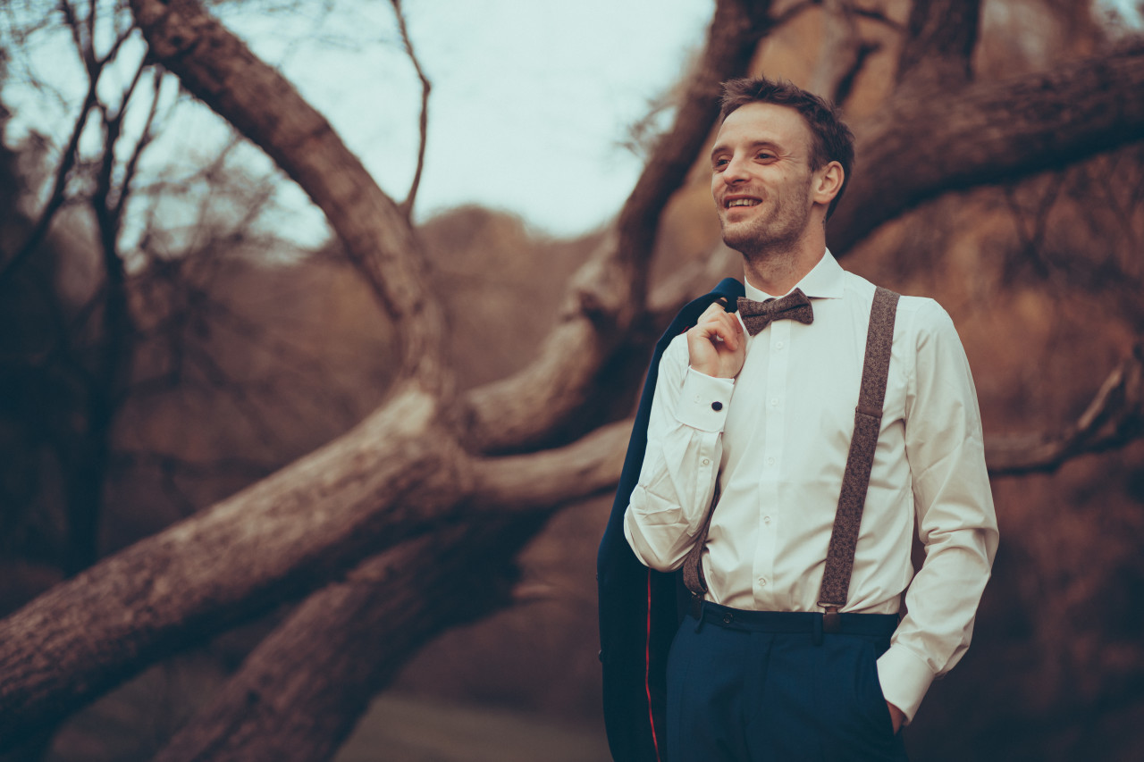 Handsome businessman with bow tie