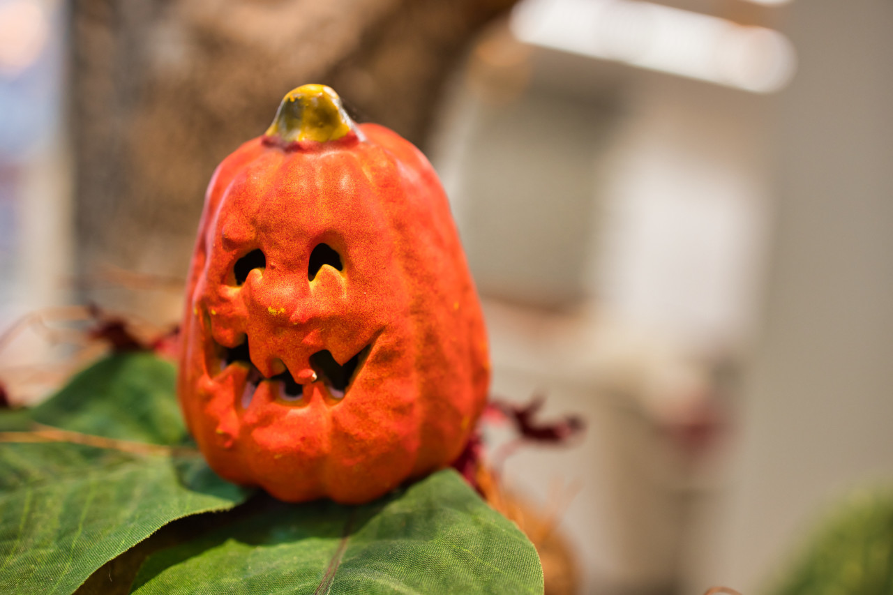 Pumpkin with face halloween decoration