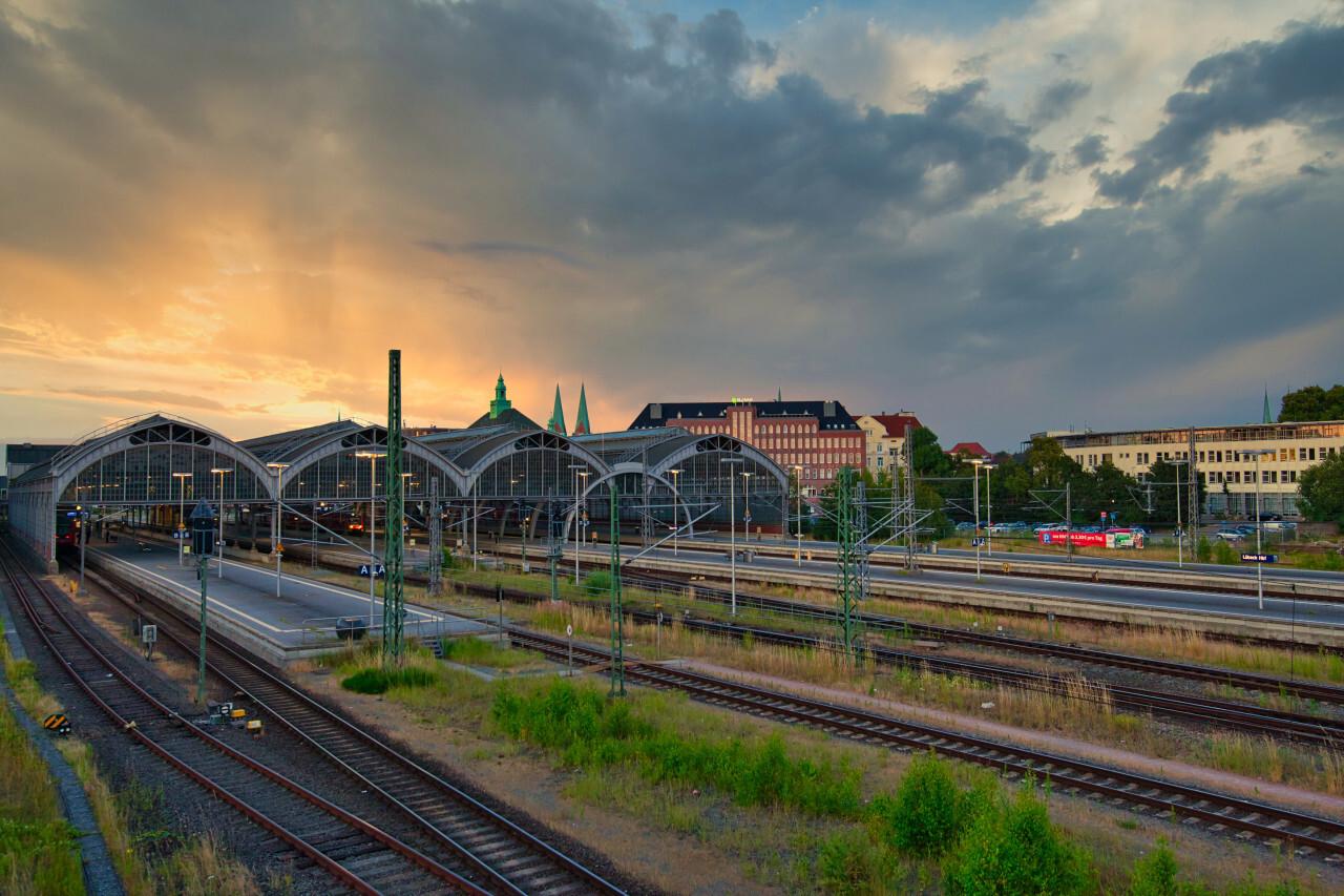 Lübeck Main Station Sunset