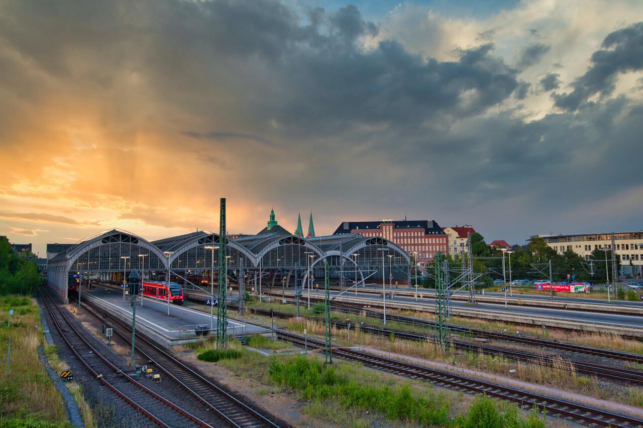 Lübeck Main Station by Sunset