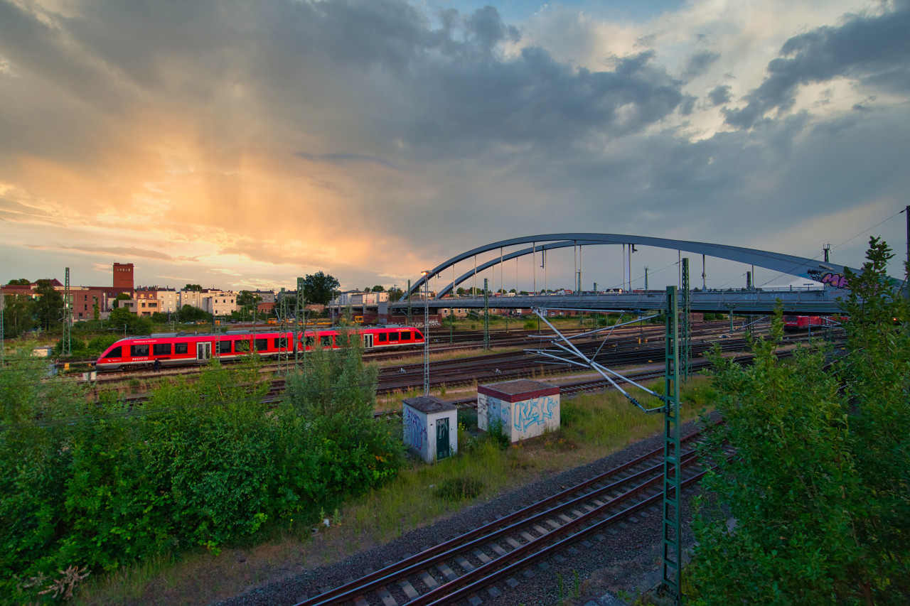 Train traffic in Lübeck by Germany - Schleswig Holstein