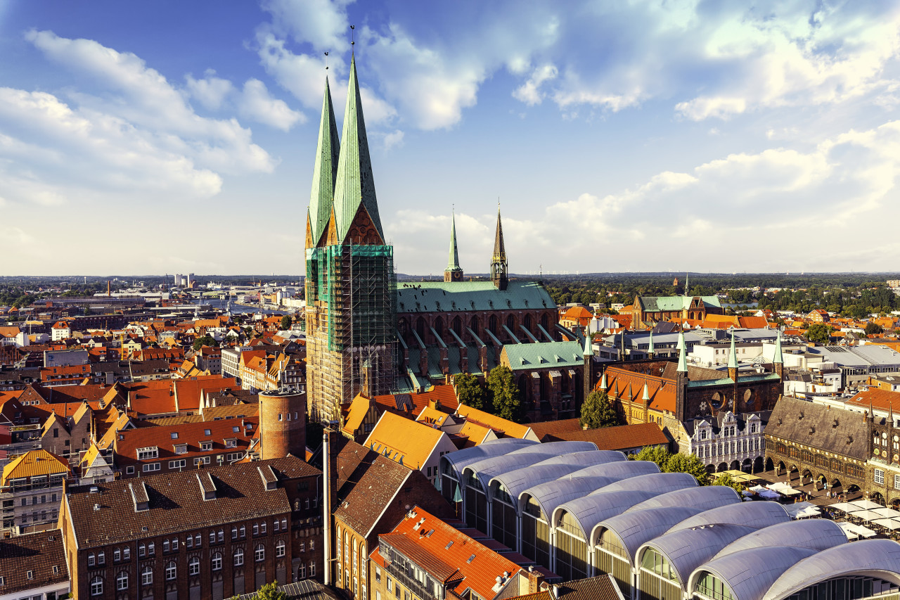 st marien church in lubeck view from above b