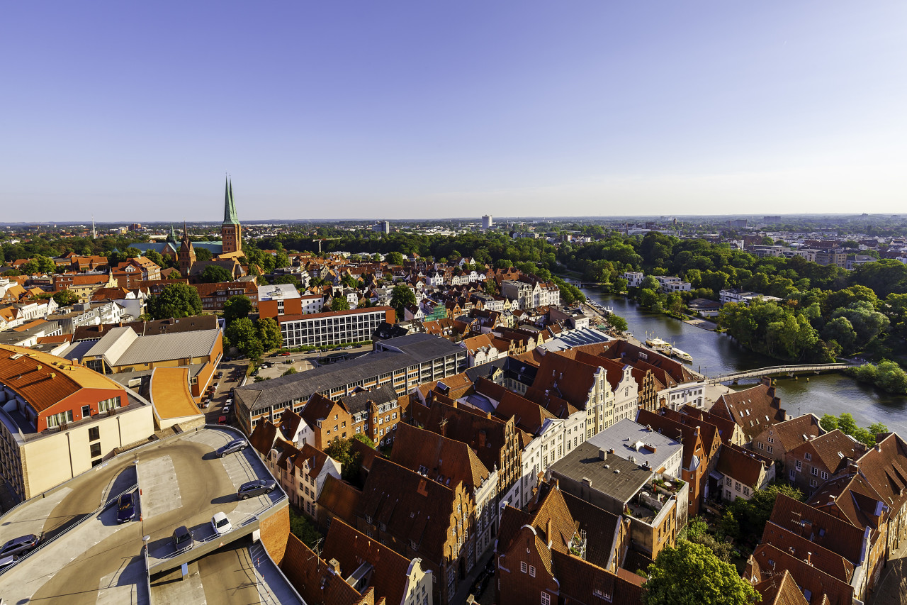 view from the top of the dom of lubeck