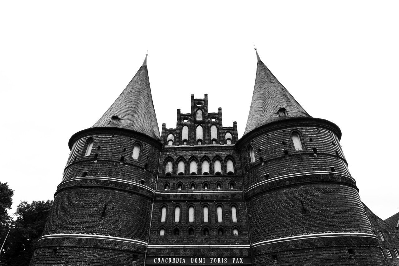 holstentor city gate black and white