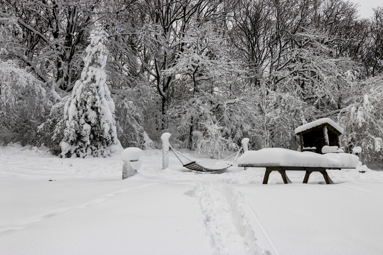 A playground was snowed in in winter