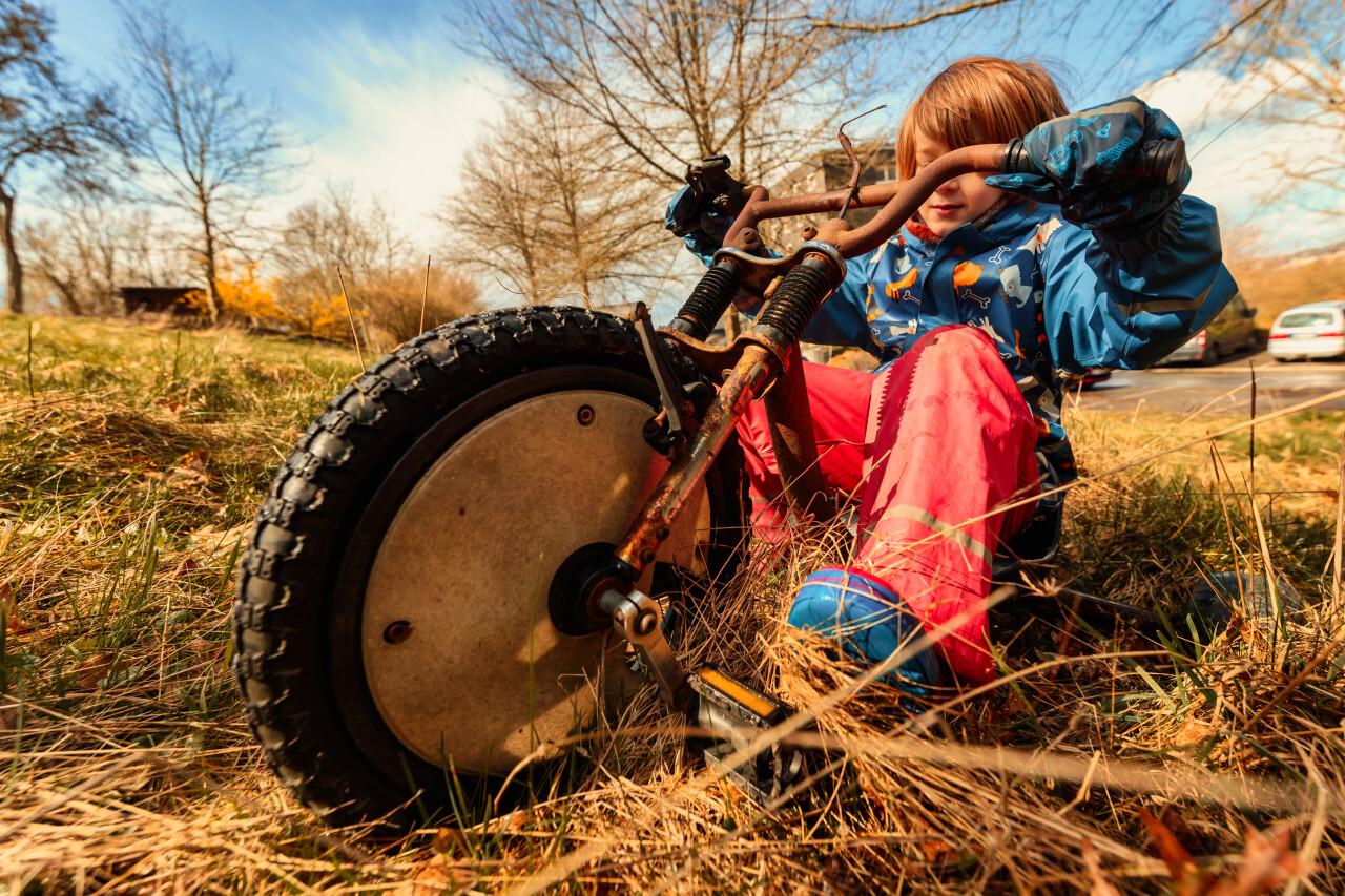 Child on a cool bike