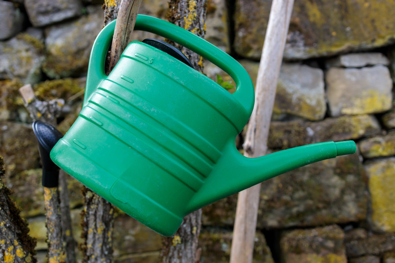 Green watering can in front of a stone wall